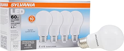 SYLVANIA, 60W Equivalent, LED Light Bulb, A19 Lamp, 4 Pack, Daylight