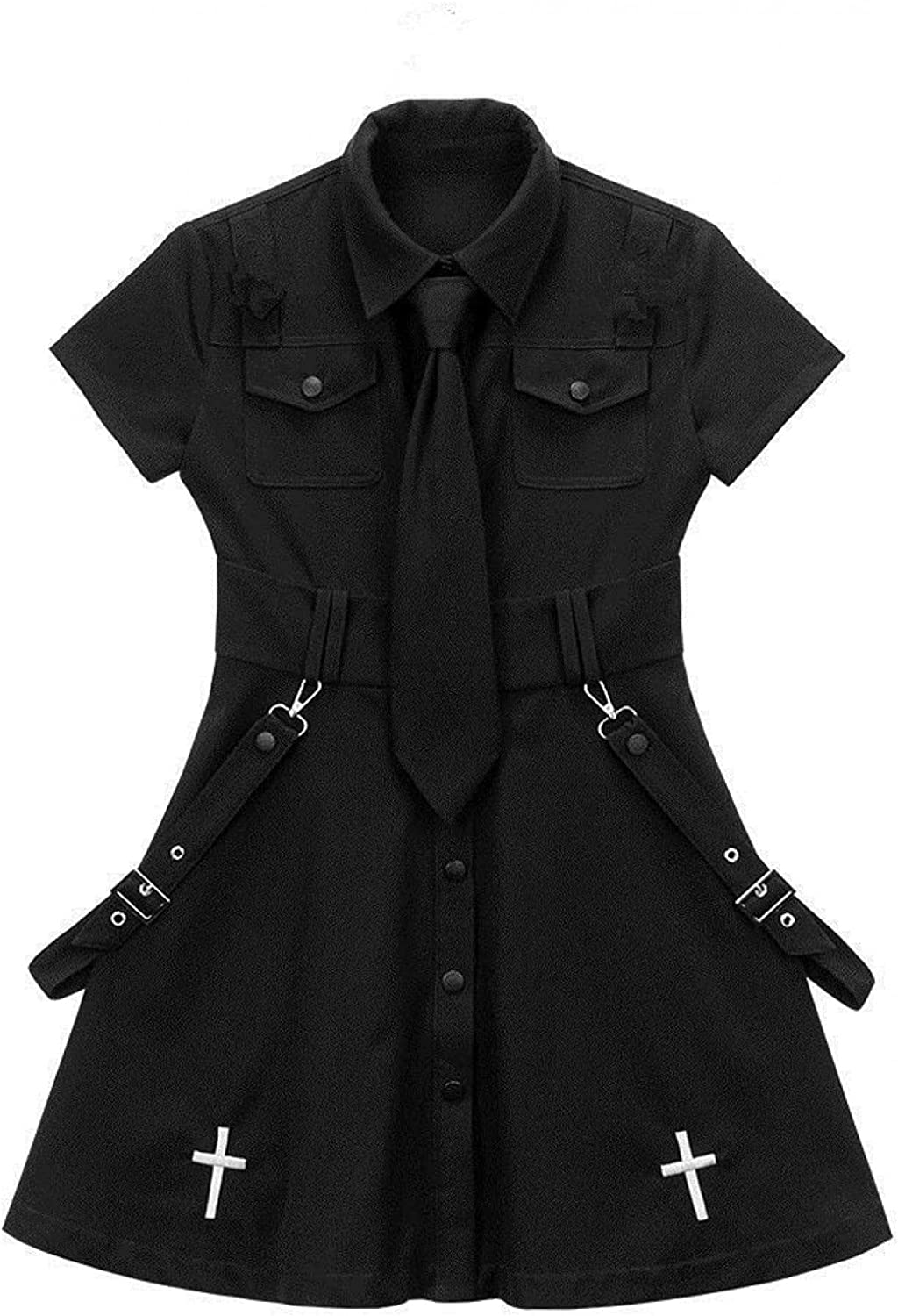N A Gothic Dress Punk Goth We OFFer at Direct store cheap prices Mini Harajuku Sh Summer Black