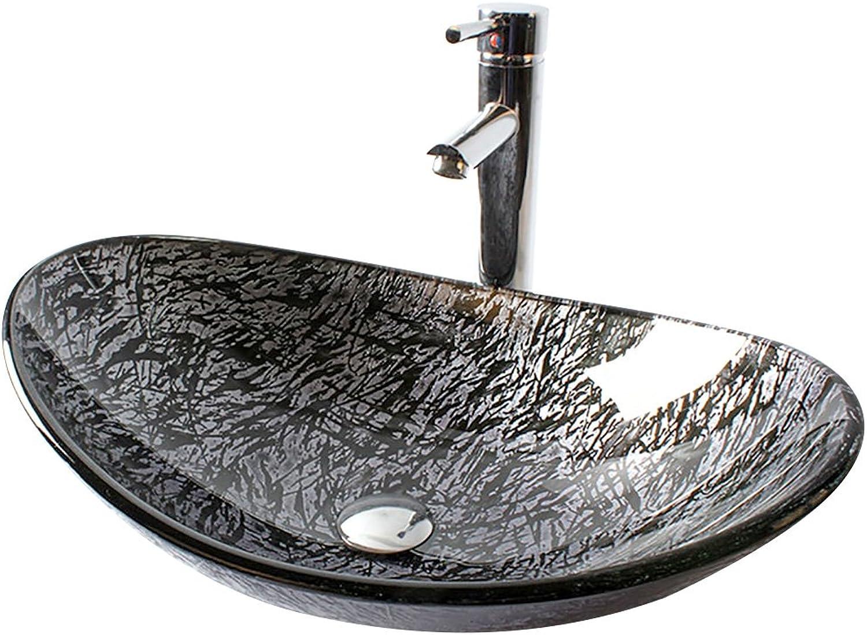 Homelava Modern Gehrtetes Glas Die ovalen Waschbecken mit Ablaufgarnitur, Montagering