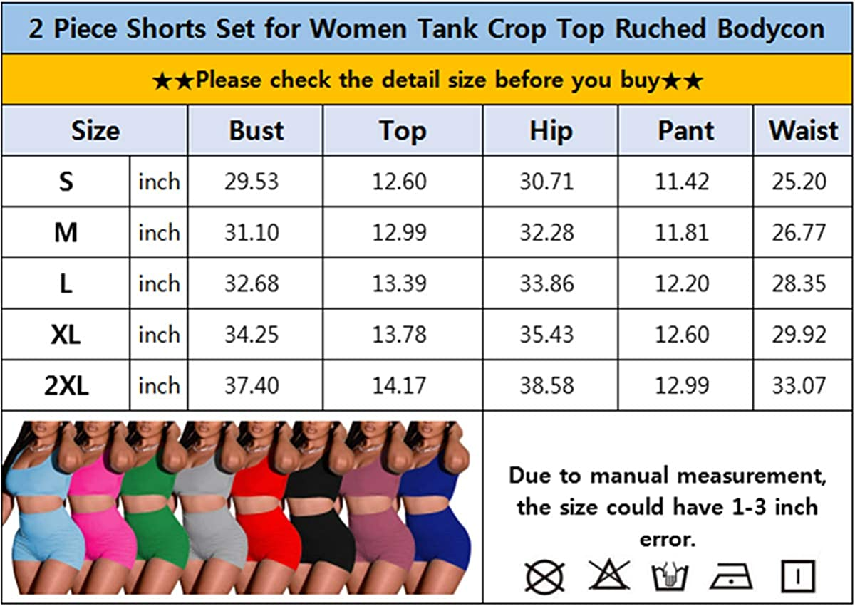 2 Piece Shorts Set for Women Tank Crop Top Ruched Bodycon Pants Set