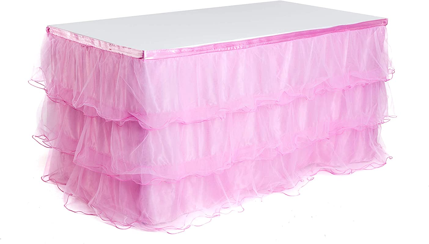 Handmade 9ft Deluxe 3 Tier Tulle Mesh Tutu Table Skirt For Princess Party Wedding Birthday Party Baby Shower Decoration Table Skirting