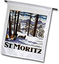 """3dRose fl_170744_2 St USA Moritz Winter Scene with People Skiing and Horse Drawn Sleigh Garden Flag, 18 by 27"""""""