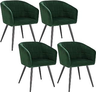 WOLTU 4X Sillas de Comedor Sillas de Cocina Dining Chairs Sillas Tapizada Salón con Reposabrazos Sillas Terciopelo con Respaldo Patas de Metal Silla de Oficina Verde Oscuro