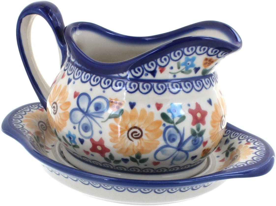 Polish Pottery Butterfly Same day shipping Gravy Boat 100% quality warranty and Plate