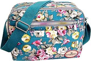Feoya Damen Canvas Retro Schultertasche Umhängetaschen mit Blumen Pattern 26 * 19 * 7cm - Türkis