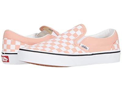 Vans Kids Classic Slip-On (Big Kid) ((Checkerboard) Salmon/True White) Girls Shoes