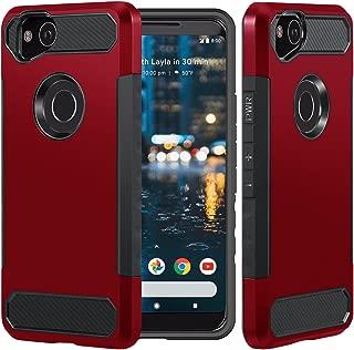 Dailylux Google Pixel 2 XL Case, [Carbon Fiber] Slim Fit Heavy Duty Dual Layer Anti-Scratches Protective Hybrid Armor Defender Case for Google Pixel 2 XL Phone-Red