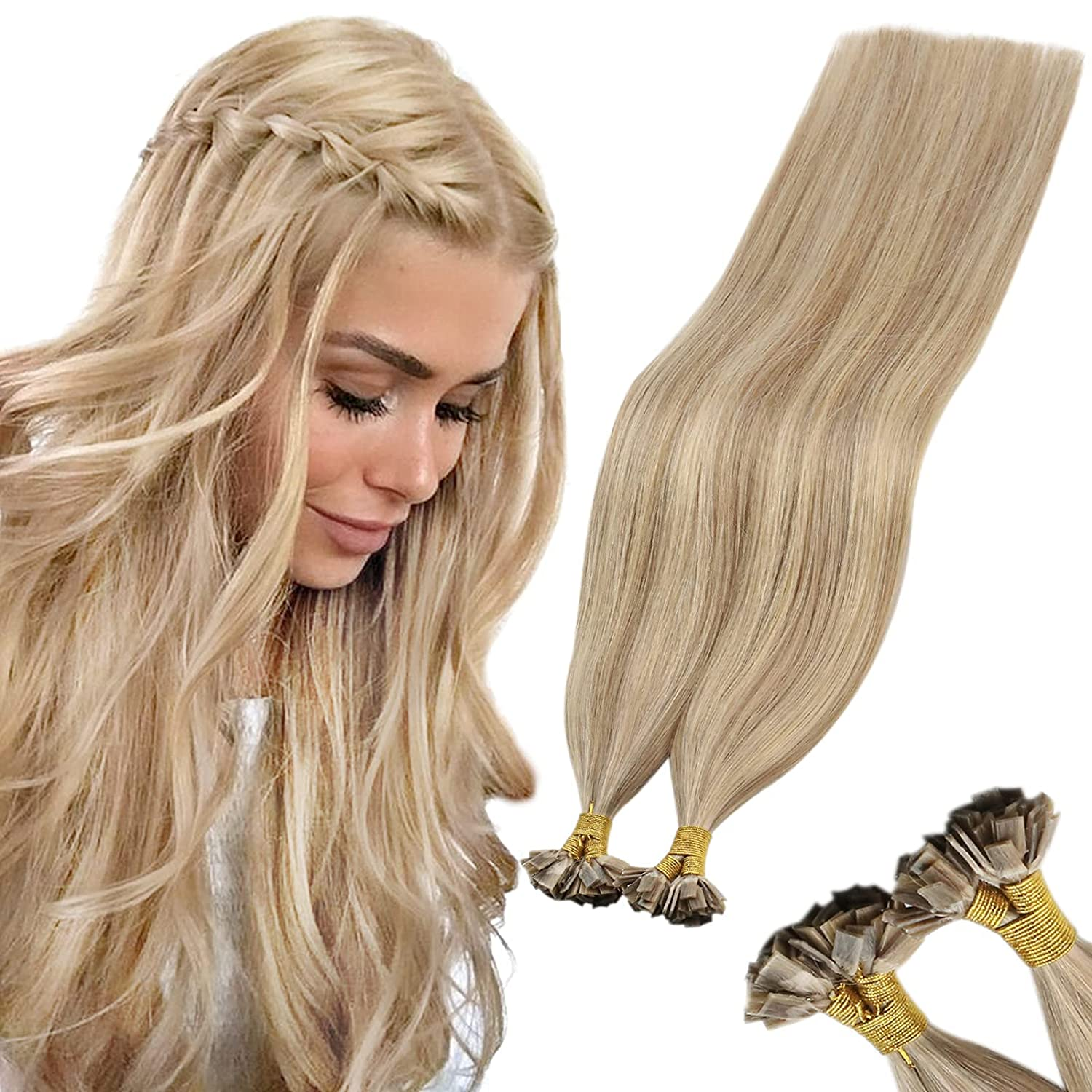 Sunny overseas Fresno Mall 20inch Prebonded Flat Tip Hair Blonde Extensions wi Golden