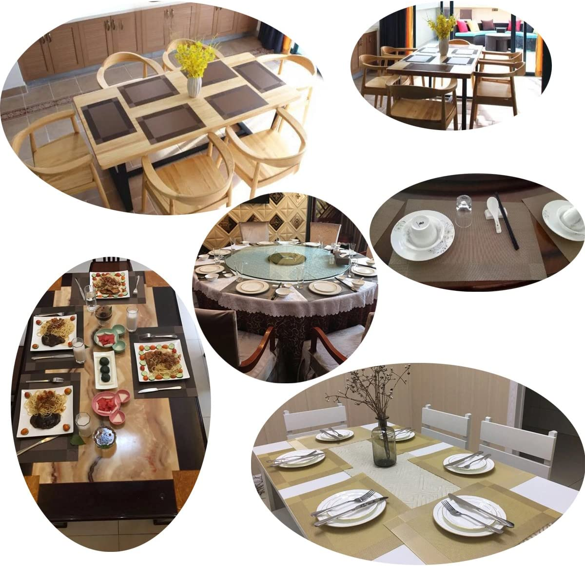 Bright Dream Placemats Washable Easy to Clean Table Mats for Kitchen Table Heat-resistand Woven Vinyl PVC Placemat 12x18 inches Set of 6(Brown) : Home & Kitchen