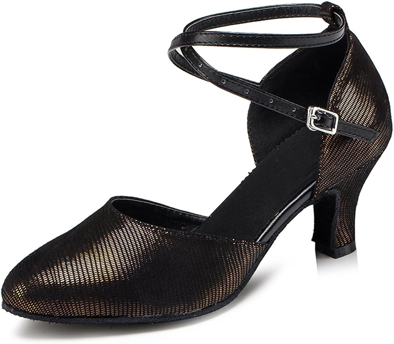 Miyoopark Women's Round Toe Low Heel Latin Tango Ballroom Dance Evening Prom Pumps shoes