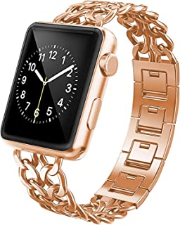 YEAPREE Chain Metal Bands Compatible with Apple Watch Band 44mm 42mm 40mm 38mm for Women/Man, Stainless Steel Metal Chains Strap Wristband for iWatch Series 6/5/4/3/2/1/SE (Rose Gold, 38-40 MM)