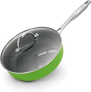 Aubecq A710124 Evergreen Frying pan with Handle and lid - Ceramic Coated 24 cm