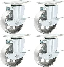 Online Best Service 4 All Steel Swivel Plate Caster Wheels w Brake Lock Heavy Duty High-Gauge Steel Gray (3.5