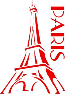 Paris Stencil - 4.5 x 6.5 inch (S) - Reusable Eiffel Tower French Decor Stencils for Painting - Use on Paper Projects Walls Floors Fabric Furniture Glass Wood etc.