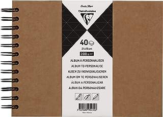 Clairefontaine 95432C - Un album à personnaliser de 40 feuilles de papier kraft 200g au format 21x16cm (Couverture kraft)