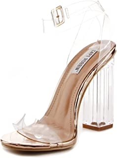Cape Robbin Maria-2 Clear Chunky Block High Heels for Women, Transparent Strappy Open Toe Shoes Heels for Women
