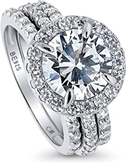 Rhodium Plated Sterling Silver Round Cubic Zirconia CZ Halo Engagement Wedding Ring Set 4.08 CTW