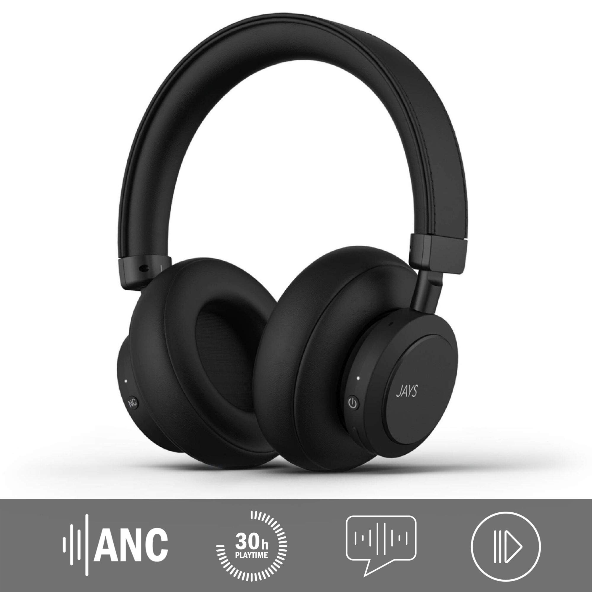 JAYS Noise Cancelling (ANC) Headphones Bluetooth - q-Seven - Black - Wireless Over-Ear 30hrs playtime & with Built-in Mic