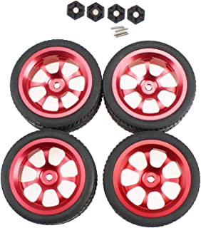 #N/A RC Car Metal Wheel Rims + Rubber Tyre + 12mm Wheel Hub Set for WLtoys 144001 124018 124019 RC on-Road Car Crawler Truck Spare Parts