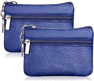 Hibate 2x Blu Mini Portamonete in pelle per Uomo Donna Bambini con Zip e Portachiavi