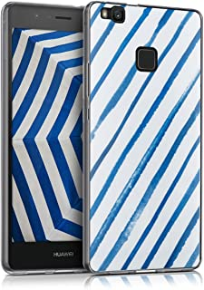 kwmobile Case for Huawei P9 Lite - TPU Silicone Crystal Clear Back Case Protective Cover IMD Design - Blue/White