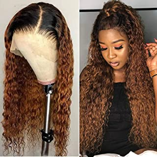 24 Inch 13×4 Glueless Ombre 1b/30 Curly Lace Front Wigs Human Hair Pre Plucked Wig Brazilian Human Hair Wigs For Black Wom...