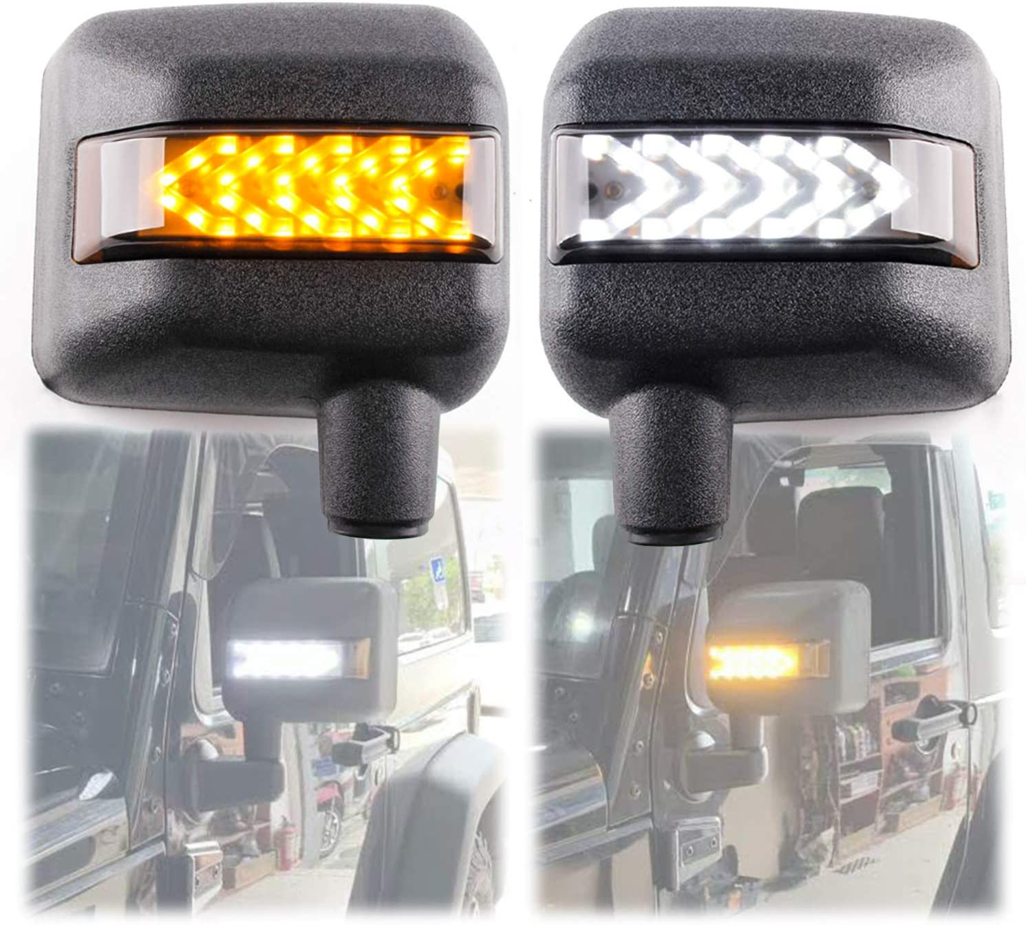 KMFCDAE Side View Mirror Housing with OFFicial site White Amber S DRL LED Beauty products Turn