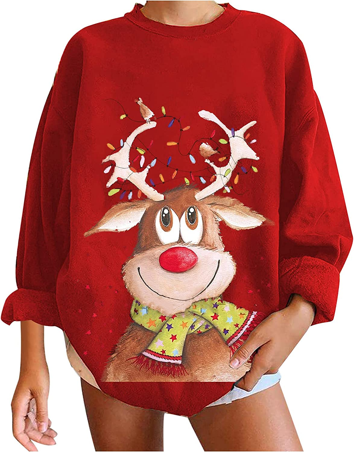 Christmas Women'S Gifts,Pullover O-Neck Tops Winter Festival Printed Long Sleeve Sweatshirt Ladies Casual T-Shirt Blouses