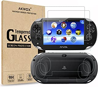 (4-Pack) Screen Protectors for Sony Playstation Vita 1000 with Back Covers, Akwox 9H Tempered Glass Front Screen Protector...