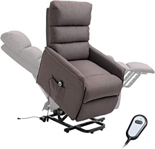 HOMCOM Power Lift Assist Recliner Chair for Elderly with Wheels and Remote Control, Linen Fabric Upholstery Brown