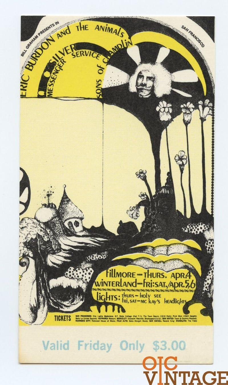 BG 114 Eric Burdon Attention brand 1968 Apr 4 Fillmore Graham Ticket Bill Max 50% OFF
