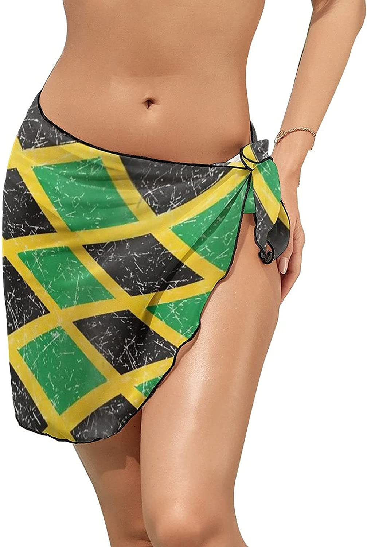 JINJUELS Women Beach Wrap Skirts Jamaica Flag Personalized Bikini Swimwear Beach Cover Up