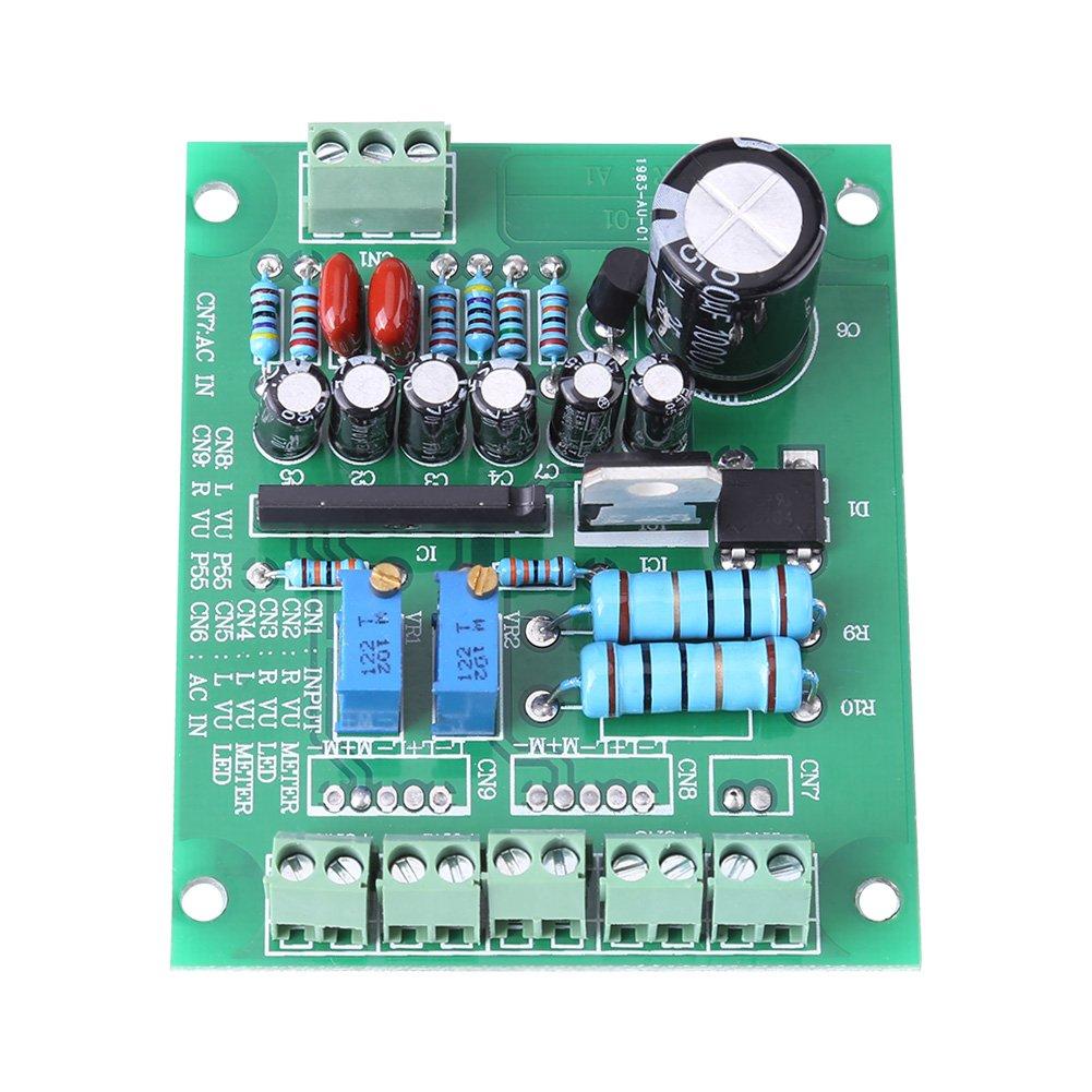 Amplificador de nivel de audio, medidor de VU AC/DC 6~12V 2 piezas placa de circuitos grabación de luz trasera proyectos electrónicos de construcción