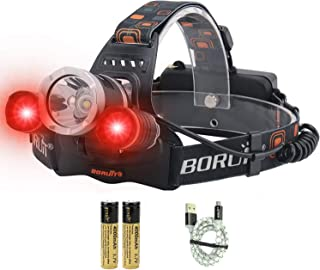 LED Headlamp - Ultra Bright 5000 Lumens, 3 Lighting Modes, White & Red Hunting Headlamps, IPX5 Waterproof, USB Rechargeabl...