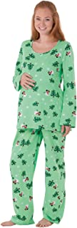 Women's Let It Snow, Man! Maternity Pajamas, Green