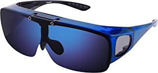 Mens Polarized Flip Up Fitover Sunglasses with Mirrored Lenses