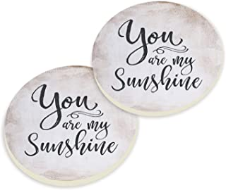 You Are My Sunshine Script Design Grey White Set of 2 Ceramic Car Coaster Pack