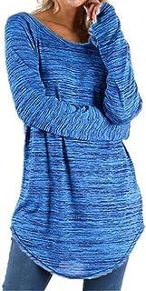 Hong Yi Fei-Shop Women's Long Sleeve Tunics Tops Crew Neck Stripes Tunic Tops Tee Polos (Color : Light Blue, Size : XXXXX-...
