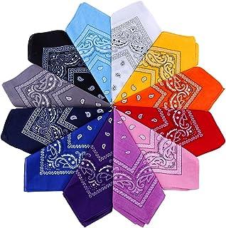 Anpro 12 Pezzi Bandane Multicolori per Cappelli,Bandana per Capelli, Collo,Testa,Sciarpa Fazzoletti da Taschino,Disegno Pa...