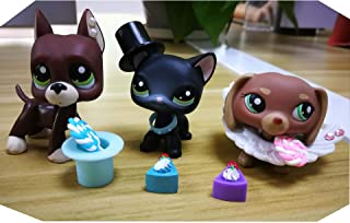 LPSOLD LPS Shorthair Cat 994 Black Kitty LPS Great Dane 1519 Brown Green Eyes LPS Dachshund 1751 Brown Dog Puppy with Accessories Lot Hat Cake Food Collar Collection Figure Kids Boys Girls Gift