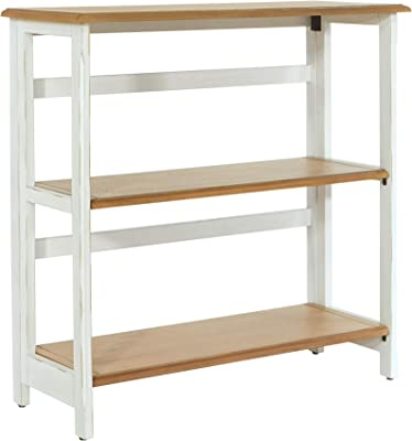 OSP Home Furnishings Medford 3-Shelf Bookcase with Folding Assembly, Distressed White