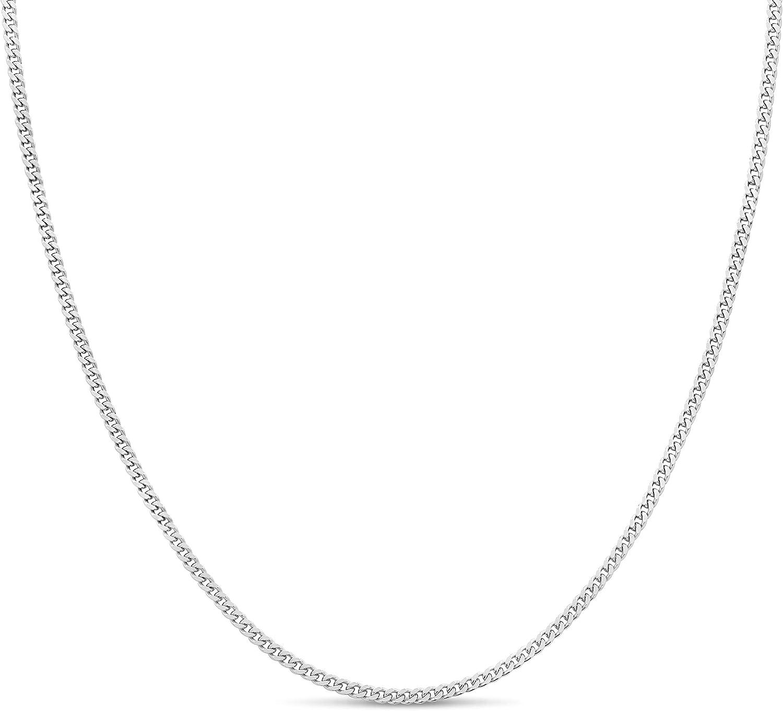 Kezef 925 Sterling Silver 1.8 mm Curb Chain Necklace Bracelet An