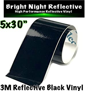 3M Black Reflective Vinyl Decal Sheet 5x30 Reflects White Great for Helmets Cars Trucks de-Chrome PPE Safety