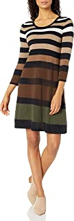 Nine West Women's 3/4 Sleeve Fit and Flare Multi Color Striped Dress