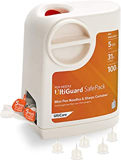 """UltiGuard Safe Pack Pen Needles and Sharps Container Mini 5mm (3/16"""") 31G 100ct"""