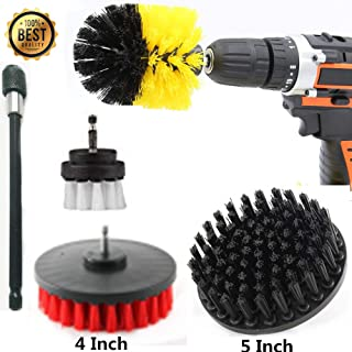 Drillbrush 5 Piece Scrub Brush Drill Attachment - Shower Cleaner - Bath Mat - Shower Doors - Glass Cleaner - Carpet Cleaner - BBQ Tools - Cast Iron Skillet - Grill Brush - Grill Cleaner - Grout Brush