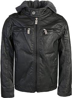 Urban Republic Boys Faux Leather Jacket with Fleece Hoodie