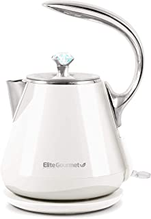 Elite Gourmet EKT-1203W Double Wall Insulated Cool Touch Electric Water Tea Kettle BPA Free Stainless Steel Interior and A...