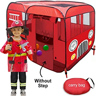 WOOHOO TOYS Big Fire Truck Tent – Spacious Indoor & Outdoor Playhouse Tent for..