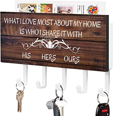 Key Holder for Wall Entryway Mail Holder for Wall Key Rack for Wall with 5 Key, Personalized Key Holder, His Hers Ours Dog Pa